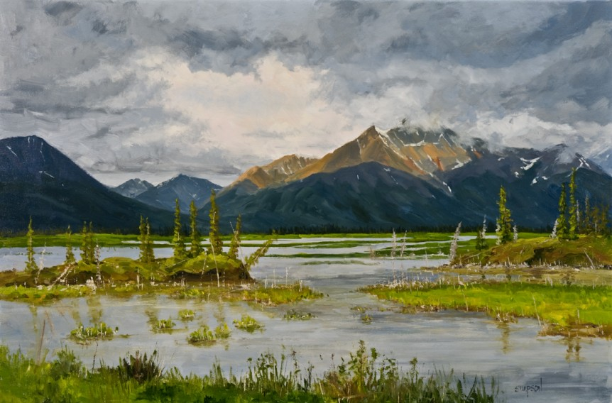 oil painting by Mike Simpson of an Alaska summer between Tok Alaska and Glen Allen