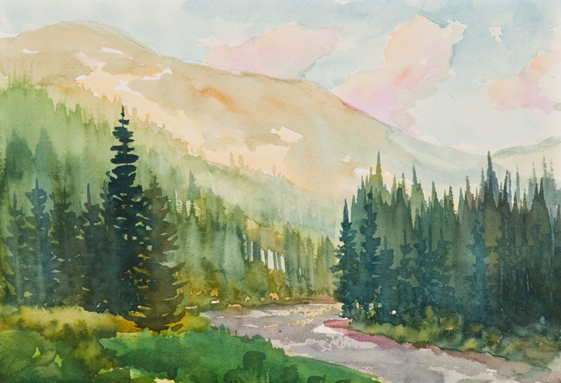 Watercolor by Mike Simpson on the Crystal River near Marble Colorado