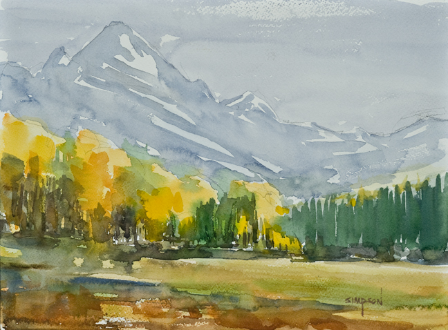 Watercolor painting by Mike Simpson of fall colors in Colorado